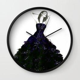 Fashion illustration dark purple gown Wall Clock