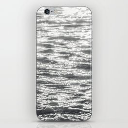 Glittering Early Sunlight Bouncing Off Gentle Waves in Monochrome Black and White iPhone Skin