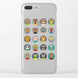 Set of animals faces circle icons set in Trendy Flat Style. zoo Clear iPhone Case