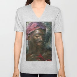 African American Masterpiece 'A Mother's Love' by Hellen Kiddall Unisex V-Neck