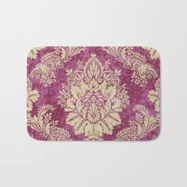 Red Cream Velvet Paisley Floral Bath Mat