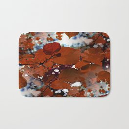 Branches in burgundy and bronze - Seamless fall leaf pattern Bath Mat