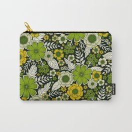 Modern Yellow & Green Floral Pattern Carry-All Pouch