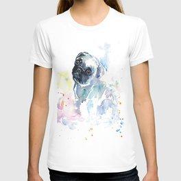 Pug Puppy in Splashy Watercolor T-shirt