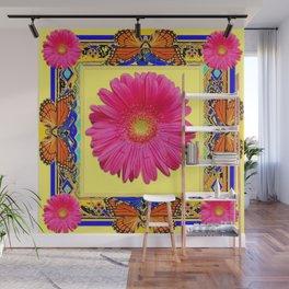 Yellow, Blue & Orange Monarch Butterflies, Gerber flower Pattern Wall Mural