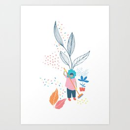 Flower Lady Sweeping Up the Leaves Art Print