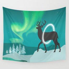 Magic Deer of the North Selas Aurora Borealis Wall Tapestry