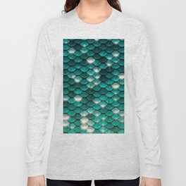 Turquoise sparkling mermaid glitter scales - Mermaidscales Long Sleeve T-shirt