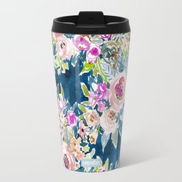 NAVY SO LUSCIOUS Colorful Watercolor Floral Print Travel Mug