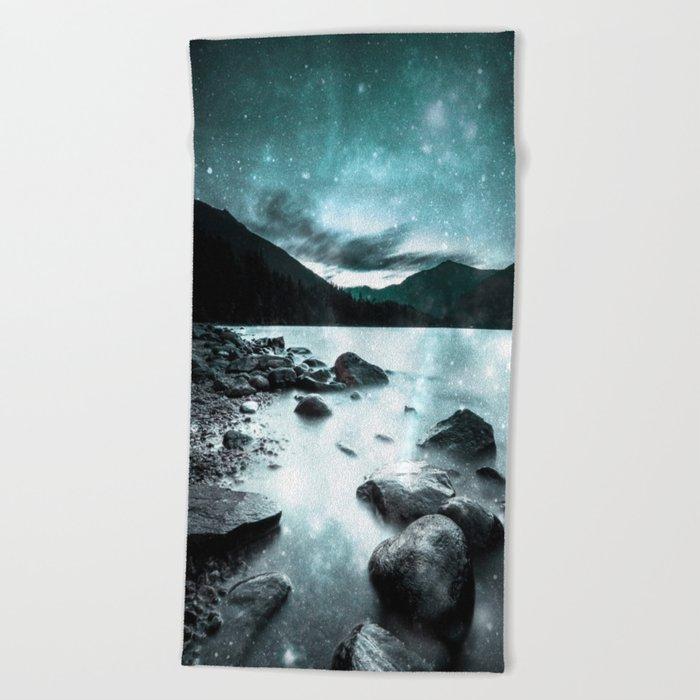 Magical Mountain Lake Teal Ice Beach Towel