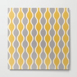 Classic Retro Ogee Pattern 852 Yellow and Gray Metal Print