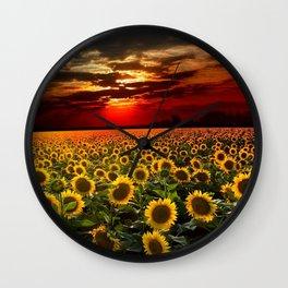 Sunflowers and Sunflower fields at sunset - Scituate, Rhode Island - Jeanpaul Ferro Wall Clock