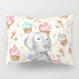CUPCAKES AND WEIMARANER Pillow Sham