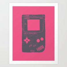 Game Boy on pink Art Print