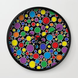 Colored Bubbles Black Wall Clock