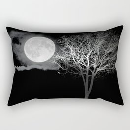 Full Moon Night Cloud Tree Rectangular Pillow