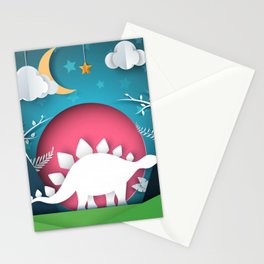 3D Paper Art Dino In the Mountains Stationery Cards