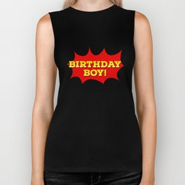 Funny Birthday Boy With Speech Cloud Biker Tank
