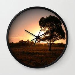 Evening Golden Landscape Wall Clock