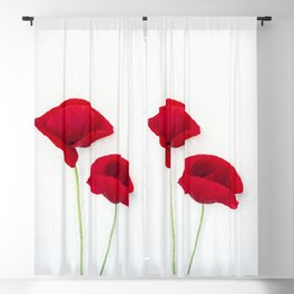 Two Red Poppies Blackout Curtain