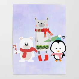 2 Bears and a Penguin in Winter Wear Poster