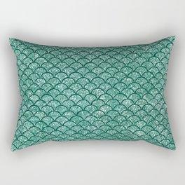 Aquamarine Sparkly Mermaid Scales Rectangular Pillow