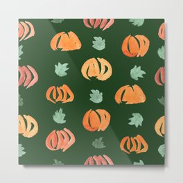 Pumpkins with Leaves Pattern on Myrtle Metal Print