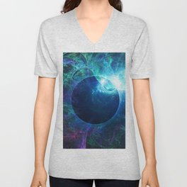 Abstract colorful shiny print graphic with planet space Unisex V-Neck