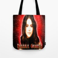 selena gomez Tote Bags featuring Dedication #1 - Selena Gomez #1 by InnerSymbiance