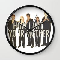 how i met your mother Wall Clocks featuring How I Met Your Mother by Evelyn Gonzalez
