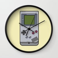gameboy Wall Clocks featuring #44 Nintendo Gameboy by Brownjames Prints