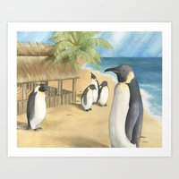 Penguin Vacation Art Print