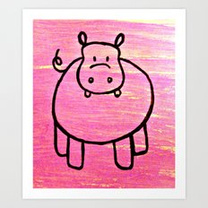 harry the pink hippo Art Print