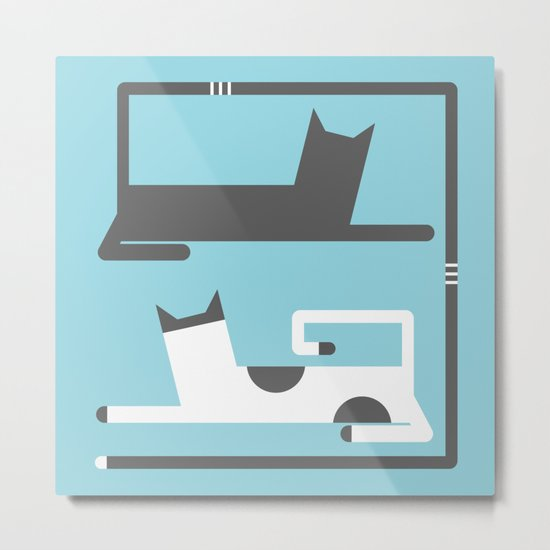 CATS IN LOVE BLUE (abstract animals) Metal Print