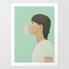 Blowing Bubble Gum Art Print