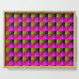 Yellow and Purple Multicolored Geometric Pattern Serving Tray
