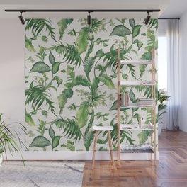 Green tropical leaves Wall Mural