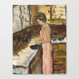 Female Figure Cooking Painting Collage Canvas Print