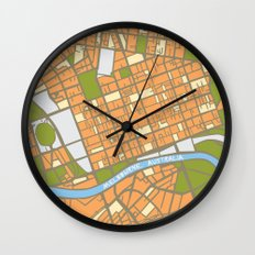 Vintage Style Map of Melbourne - ORANGE Wall Clock
