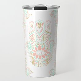 Modern girly pink mint gold Hamsa hand of fatima Travel Mug