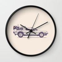 delorean Wall Clocks featuring Famous Car #2 - Delorean by Florent Bodart / Speakerine