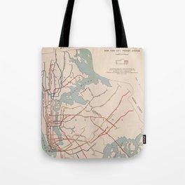 New York City Transit System Vintage Tote Bag