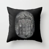 tardis Throw Pillows featuring Tardis by Elizabeth A
