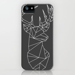 Greometric Stag (White on Grey) iPhone Case