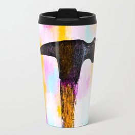 hammer with colorful painting abstract background in pink orange blue Travel Mug