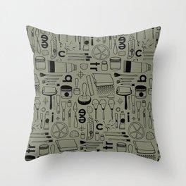 BIENNALE_COMBO_KHAKI_NOIR Throw Pillow