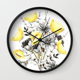Poppies And Chicory Wildflower Bouquet Wall Clock