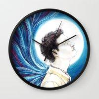 castiel Wall Clocks featuring Castiel by laya rose