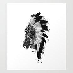 black and white headdress Art Print