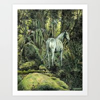 pixies Art Prints featuring Unicorn & Pixies by Mike Lowe